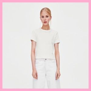 Zara White Ribbed t-shirt with pearls